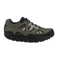 Men's Hodari GTX Oak Green / Black : Overcome sharp rocks and slippery streams with ease. These provide all the armor your feet require on a hike or simple walk in the park. Throw anything at them, they'll take it. Waterproof nubuck/waterproof suede/non-wicking mesh uppers finished with a mesh footbed, our patented rocker sole and non-marking outsole.