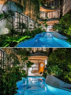A curved swimming pool complements the curved balconies above. Bright Hallway, Concrete Floors, Building Materials, Terrazzo, Ground Floor, Balcony, Facade, Swimming Pools, 1