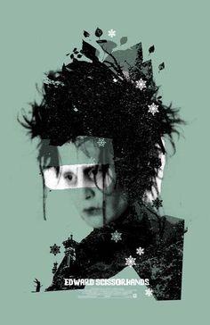 """MP512. """"Edward Scissorhands"""" Alternative Movie Poster by Adam Juresko 2010 (Tim Burton 1990) / #Movieposter"""