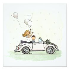 Wedding invitation wedding couple in vintage Beetle convertible Paper Cards, Diy Cards, Invitation Cards, Wedding Invitations, Wedding Day Cards, Wedding Gifts, Just Married Car, Wedding Canvas, Pre Wedding Poses