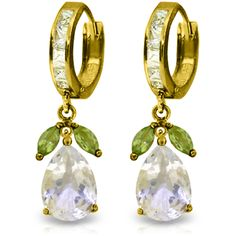 "14.30 TCW 14K Gold Huggie Earrings with Peridots & White Topaz (""3149"")"