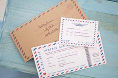 Red & Blue Airmail Travel Ticket Wedding Invitation - Vintage Wedding Stationery Scotland - VOWS Award Nominee 2013