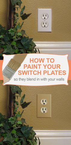 How to Paint Light Switch Plates. Easy way to update the look of your home - paint your switch plates & outlet covers to match your walls. It really adds the finishing touch to any room. Switch Plate Covers, Light Switch Plates, Light Switch Covers, House Painting, Diy Painting, T-shirt Refashion, Tuscan Decorating, Decorating Ideas, Outlet Covers