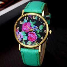 Watch Women Clock New Vogue Best Women's Leather Rose Floral Printed Analog Quartz Wrist Watch Beautiful Comfortable Popular C5