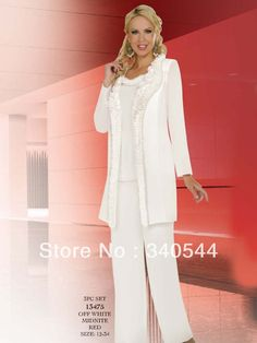 Mother of the Bride Pant Suits White  2013 New Fashion crystal party dresses Mother of the Bride Dresses with jacket PA-284 $109.00
