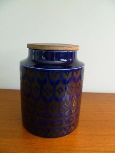 Large Hornsea Heirloom Biscuit Jar in Blue and Black.  I have one, but my friend Olga wants one too ...