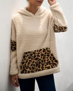Hooded Leopard Print Pocket Insert Fluffy Sweatshirt - Just Shop Queen Fashion, Cute Sweaters, Winter Sweaters, Hoodies, Sweatshirts, Pattern Fashion, Sleeve Styles, Fashion Outfits, Inspired Outfits