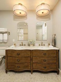 Old Buffet Turned Into Double Vanity Bathroom Ideas Pinterest - Dresser turned bathroom vanity for bathroom decor ideas