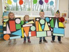 Kindergarten Art Lessons, Preschool Learning Activities, Preschool Art, Drawing For Kids, Art For Kids, Classe D'art, Mosaic Art Projects, Mondrian, Collaborative Art