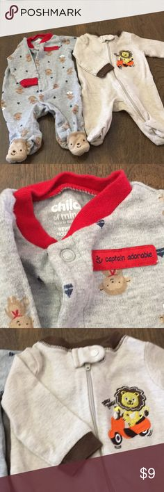Price ⬇️Child of Mine/Garanimals footed pj's 2 Newborn, long sleeve, footed pj's! Great condition! A few fuzzies on the brown lion one. Pajamas