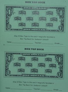 Our Updated Box Top Buck Collection Sheet. We love to show the kids how 10 Box Tops = A BUCK for SUNBURST! Box Tops For Education