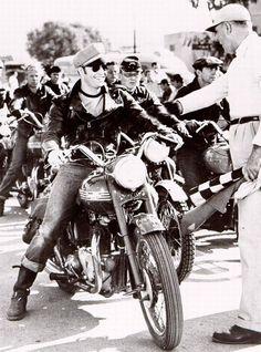 "Marlon Brando 1954 movie ""The Wild One."" Riding his own 1950 Thunderbird"