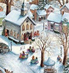 SERVIETTES EN PAPIER NOEL EGLISE PAYSAGE.PAPER NAPKINS CHRISTMAS CHURCH SNOW