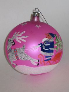 Glass Christmas Ornament Vintage Poland Decoration Hand Painted 1950's