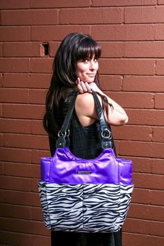 """The """"Purple Passion"""" Perfect Ladies Designer Tote Bag – SmartGirl Bags. A pretty gym bag with tons of storage! 11 total pockets to keep you organized inside and out! Perfect women's tote bag for work, gym, or play! Makes for a great mom bag or diaper bag as well."""