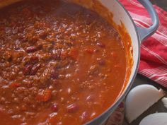 Spicy Three-Meat Chili recipe from Nancy Fuller via Food Network