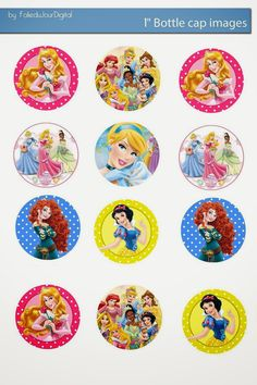 Princesas Disney - Topper para Cupcake - Stickers.