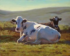 Resting Holsteins by carol peek , Oil, 8 x 10 Cow Paintings On Canvas, Animal Paintings, Paintings I Love, Farm Animals, Animals And Pets, Deer Skull Art, Cow Pictures, Cute Cows, Cow Art
