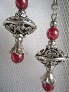 Veronese Hearts Earrings Antique Silver and by ViomarJewellery