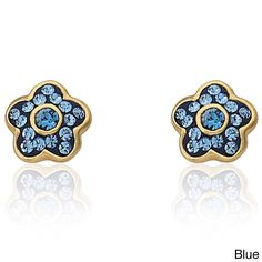 Little Miss Twin Stars Molly Glitz 'Flowery Glitz' 14k Goldplated Navy Blue Enamel Flower Stud Earring Accented with Crystals