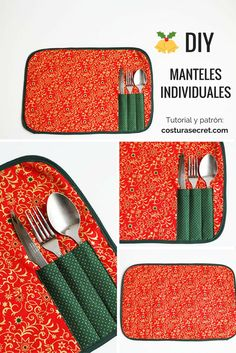 DIY TABLECLOTHS | Cómo hacer MANTELES INDIVIDUALES Small Sewing Projects, Sewing Crafts, Diy Projects, Bees Wrap, Ideias Diy, Couture Sewing, Kitchen Themes, Mug Rugs, Decoration Table