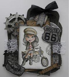 Scrap, kort, foton mm: Kort med Kenny K stämpel, biker girl
