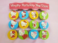 Jcakehomemade Hello Kitty Cake, Happy Birthday, Sugar, Cookies, Christmas Ornaments, Holiday Decor, Hello Kitty Cake Design, Happy Brithday, Crack Crackers