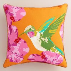 Featuring our vibrant, exclusive design, our hummingbird throw pillow is made of high-performance fabric with natural braided jute detailing.