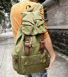 army rucksack Size: 30*15*48 cm Canvas Messenger Bag, Canvas Backpack, Army Rucksack, Bradley Mountain, Leather Backpack, Backpacks, Bags, Men, Outfits
