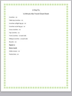 21 day fix travel cheat sheet for 10 min abs!