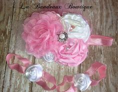 Satin Rose Pink and White Couture Headband by LaBandeauxBowtique, $23.00