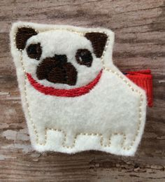 Sweet Pug Dog Puppy Cream Brown Red Felt Hair Clip Clippie Babies Toddlers Girls by OwlMyPretties on Etsy https://www.etsy.com/listing/221528857/sweet-pug-dog-puppy-cream-brown-red-felt