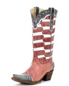 Dreamy Vintage Collection Corral cowgirl boots! All-over distressed red leather with white stripes and star inlays.. Corral Vintage Collection boots are stirring things up on the western front! This cowgirl fancy Corral boot is handcrafted in Leon, Guanajuato, Mexico by some of the most experienced boot makers in the country. Cowgirl boot feat...