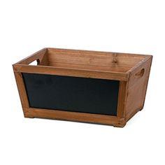 """Skalny Rectangle Wood Tub with Chalkboard, 13"""" x 9.25"""" x 6.25"""""""
