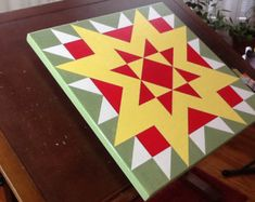 Bright and bold Early Riser barn quilt by PYsBarnQuilts on Etsy Barn Quilt Designs, Barn Quilt Patterns, Quilting Designs, Painted Barn Quilts, Barn Signs, Barn Art, Quilt Sizes, Square Quilt, Quilting Projects