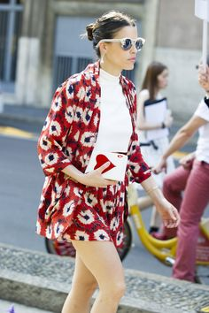 Red florals and fun accessories spotted in Milan.