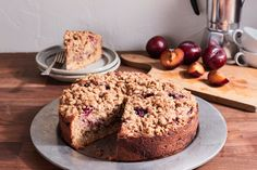 Plum Coffee Cake with Oatmeal Streusel Topping Recipe from Bob's Red Mill! Baking Recipes, Cake Recipes, Dessert Recipes, Desserts, Dessert Ideas, Yummy Recipes, Keto Recipes, Breakfast Recipes, Oatmeal Streusel Topping Recipe