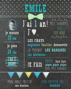 Affiche 1er anniversaire - NOEUDS PAPILLON - fond d'ardoise_fichier numérique, fête 1 an, garçon, souvenir, smash the cake, décor photo de la boutique MOMYboutique sur Etsy