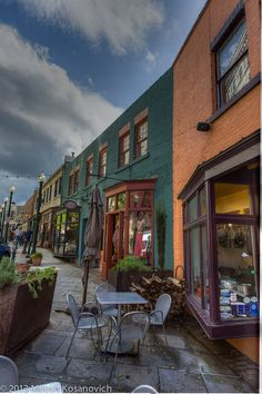 Asheville, North Carolina... beautiful, very artsy kind of place.... great place to sit outside and have a glass of wine!
