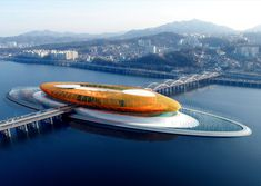This is a concept design for the performing arts center in Seoul, South Korea. It is called The Eye of the Storm and is an island in the middle of the Hangang River. | Architect: Vincent Callebaut