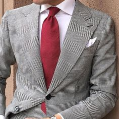 Morning Closeup Red Tie by Check The Accessories Collection at… Suit Up, Suit And Tie, Make Easy Money Online, Plaid Suit, Tie Styles, Sharp Dressed Man, Sports Jacket, Dress For Success, Gentleman Style
