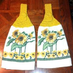 Yellow Sunflower Kitchen Towels