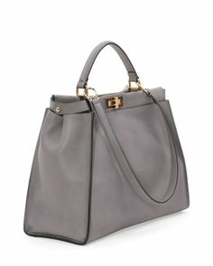 Fendi Peekaboo Large Leather Satchel Bag, Light Gray