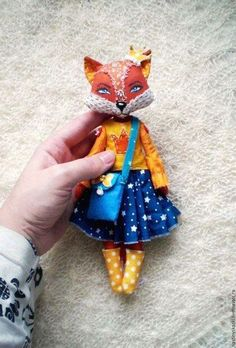 Best 8 Find more information on fabric flowers Doll Sewing Patterns, Sewing Dolls, Fabric Toys, Fabric Crafts, Tilda Toy, Diy Y Manualidades, Handmade Stuffed Animals, Fox Toys, Fabric Animals