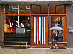 Milkbar, Bateman Street, Soho, London. Nearest tube: Oxford Circus || There's something rather gorgeous about its hot orange interiors. Serves up a good flat white: very very very sharp and with full-bodied flavours.
