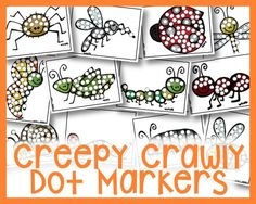 Fine motor and dot marker fun with a buggy, creepy crawly theme! These creepy crawly dot markers are sure to entertain any child for at least a little bit! Free Preschool, Preschool Science, Science For Kids, Science Activities, Preschool Activities, Bingo Dabber, Do A Dot, Spring Activities, Early Learning