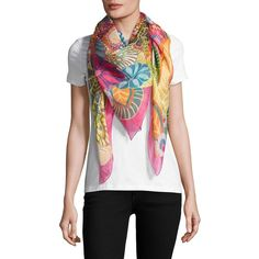 Salvatore Ferragamo Floral Linen & Silk Scarf ($590) ❤ liked on Polyvore featuring accessories, scarves, silk shawl, floral shawl, linen shawl, floral print scarves and pure silk scarves