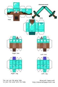 Papercraft Steve with Diamond Armor and Diamond Sword - Minecraft World Steve Minecraft, Minecraft Sword, Minecraft Mobs, Minecraft Pixel Art, Minecraft Skins, Minecraft Characters, Minecraft Buildings, Minecraft Crafts, Minecraft Mods