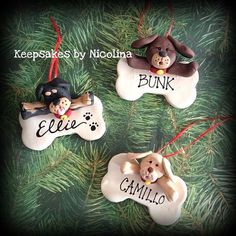 Personalized Puppy Dog Bone Ornament by KeepsakesByNicolina Homemade Polymer Clay, Polymer Clay Cat, Polymer Clay Ornaments, Polymer Clay Figures, Polymer Clay Animals, Polymer Clay Creations, Dog Christmas Ornaments, Polymer Clay Christmas, Christmas Time