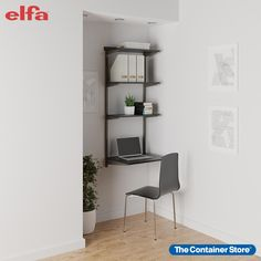 "Whether you're working from home, or just need a small work space, the Elfa Classic Slate & Graphite Shelving Office Nook is the answer. All you need is a bit of wall space to create the perfect office nook. Perfect for small spaces, it includes three sturdy 12"" Solid Shelves and one 20"" Solid Shelf to use as a desktop. And because it's Elfa, the Shelves can be easily repositioned at any time. Home Based Work, Utility Shelves, Office Shelving, Small Workspace, Reach In Closet, Study Nook, Office Nook, Small Space Organization, Study Areas"